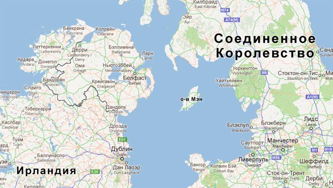 Остров Мэн на карте