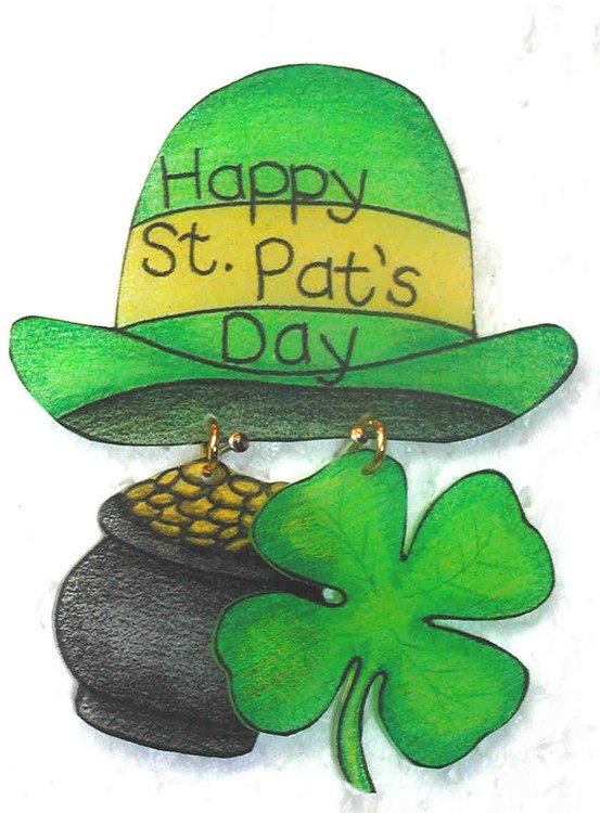 Символы дня святого Патрика - клевер-трилистник, зеленый цвет и сказочный леплекон с горшочком золота