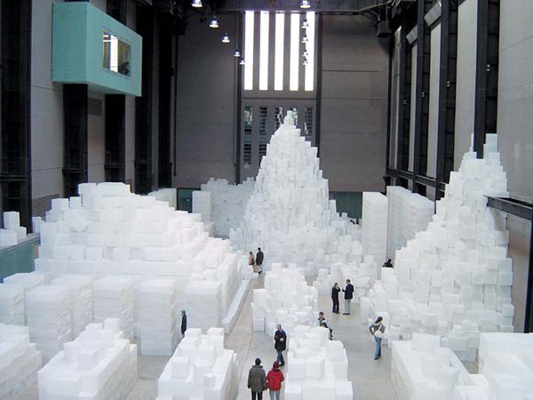 Ландшафт из белых кубов